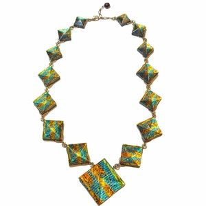 Met Museum Gold Tone and Acrylic Necklace